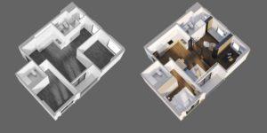 Mặt bằng hiện trạng và cải tạo lại căn hộ chung cư